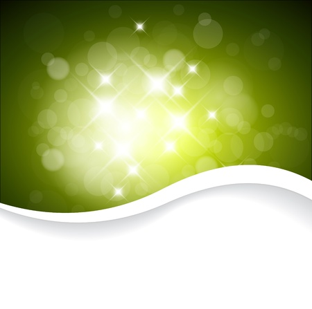 glimmer: Vector Green background with white lights and place for your text