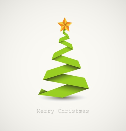christmas trees: Simple vector christmas tree made from paper stripe - original new year card