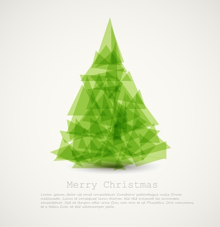 christmas backdrop: Vector modern card with abstract green christmas tree