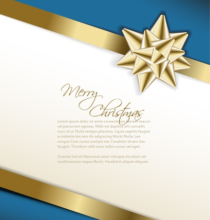 corner ribbon: Vector golden bow on a ribbon with white and blue background -Christmas card