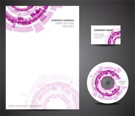 letter head: Purple Design template set - business card, cd, paper