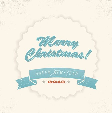 Simple vintage retro Christmas card (blue and yellow) Vector
