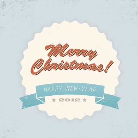 Simple vintage retro vector Christmas card (blue, red and yellow) Stock Vector - 10470722