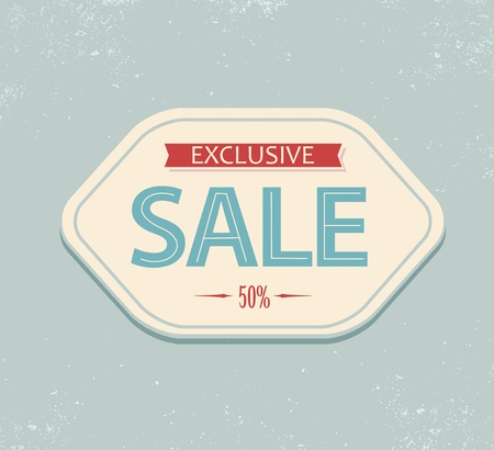 sale sticker: Old retro vintage sale label - blue and red Illustration