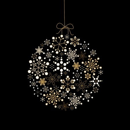 ribbons hang: Christmas ball made from golden snowflakes on a black background (vector) Illustration