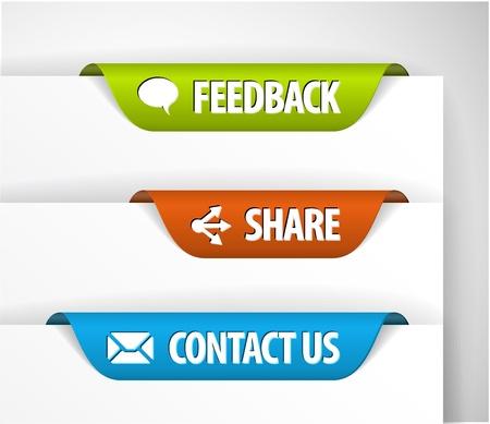 pesta�as: Vector de comentarios, compartir y etiquetas de contacto  adhesivos en el borde de la p�gina (web)