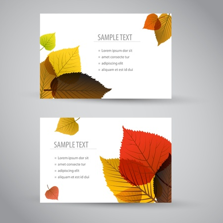 fall leaves border: Fresh natural fall vector vertical banners or cards with leafs and sample text