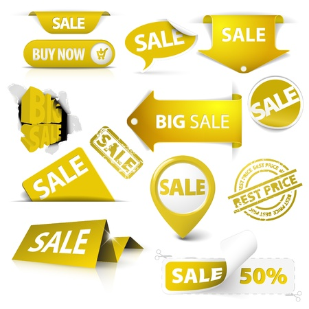 Collection of vector golden yellow sale tickets, labels, stamps, stickers, corners, tags on white background Vector