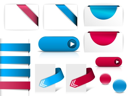 Blue and purple vector elements for web pages - buttons, navigation, pointers, arrows, badges, ribbons Stock Vector - 10508791