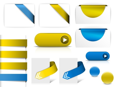 Blue and yellow vector elements for web pages - buttons, navigation, pointers, arrows, badges, ribbons Stock Vector - 10508790