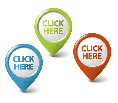 click icon: Vector Round 3D click here pointer - button (call to action)
