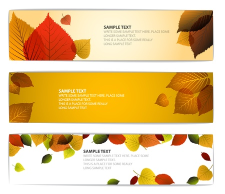 saturate: Fresh natural fall vector horizontal banners with leafs and sample text