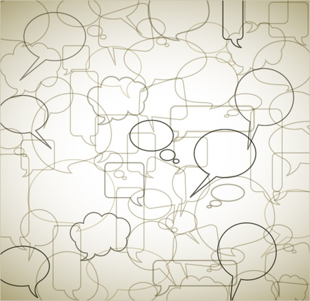 talk big: Vector vintage background made from speech bubbles - outlines and borders