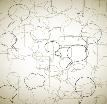 wort: Vektor Vintage Background gemacht aus Rede Blasen - skizziert und grenzt an