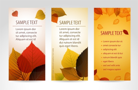 saturate: Fresh natural fall vector vertical banners with leafs and sample text