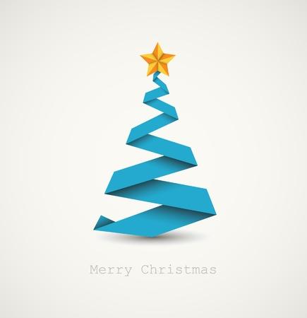 minimalista: Egyszerű vektor karácsonyfa papírból csík - az eredeti újévi kártya Illusztráció