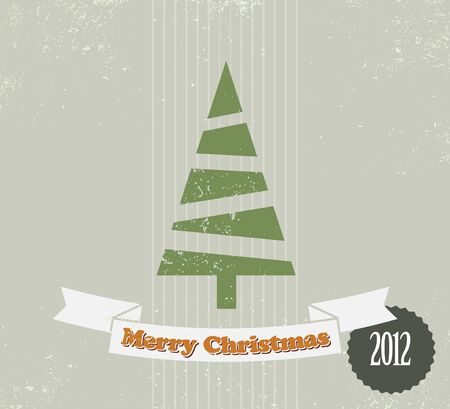 Simple vintage vector retro Christmas card with christmas tree Vector