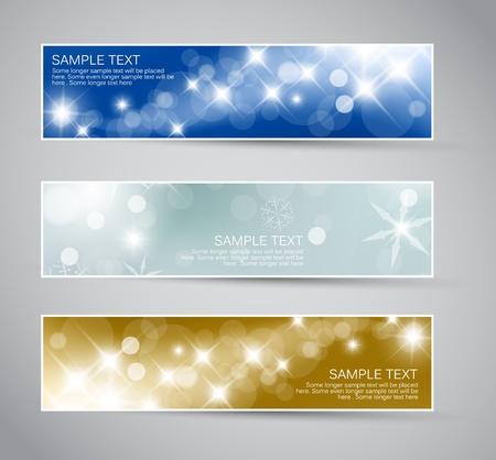 Set of vector christmas  New Year horizontal banners 2012 Vector
