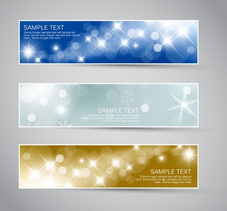 star background: Set of vector christmas  New Year horizontal banners 2012