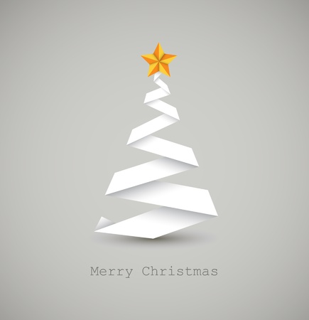snowy: Simple vector christmas tree made from white paper stripe - original new year card