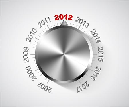 turns of the year: Tarjeta vector 2012 Nochevieja con pomo de cromo