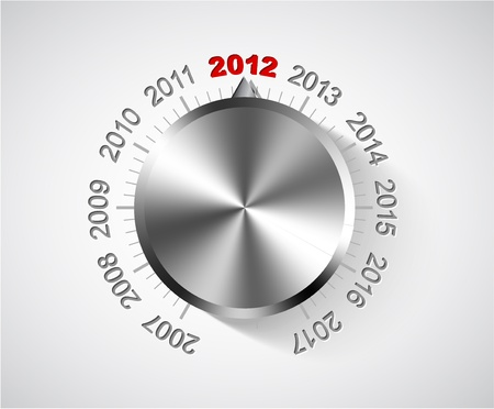 turn of the year: Vector 2012 New Year card with chrome knob Illustration
