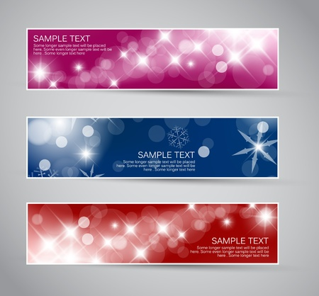 Set of vector christmas  New Year horizontal banners 2012 Vector