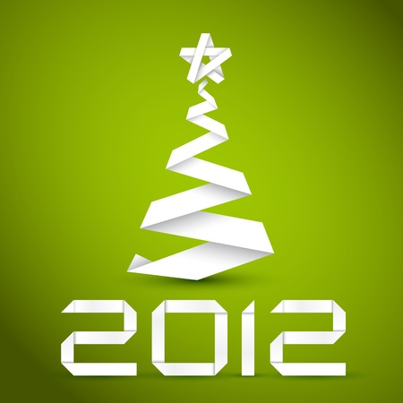 Simple vector christmas tree made from white paper stripe - original new year card Vector