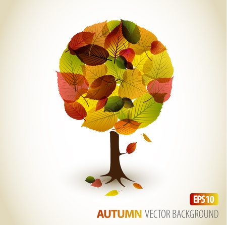 Abstract Vector autumn tree illustration - made from colorful leafs