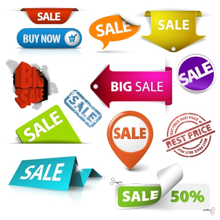 sale sticker: Collection of colorful vector sale tickets, labels, stamps, stickers, corners, tags on white background