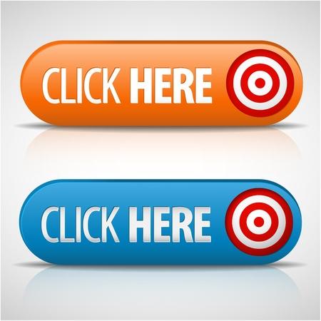 действие: Большой синий и оранжевый нажмите здесь кнопки с тенью и размышления