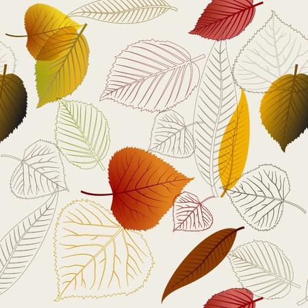 autumn leaf: Autumn vector leafs texture - fall seamless pattern Illustration