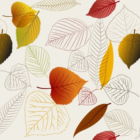 Autumn vector leafs texture - fall seamless pattern Ilustracja