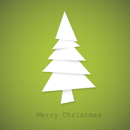 Simple vector christmas tree made from pieces of white paper - original new year card Vector