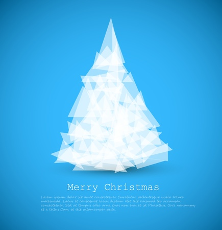 Vector modern card with abstract green christmas tree on a blue background Stock Vector - 10626559