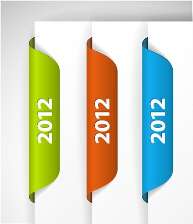 2012 Labels / Stickers on the edge of the (web) page Stock Vector - 10859532