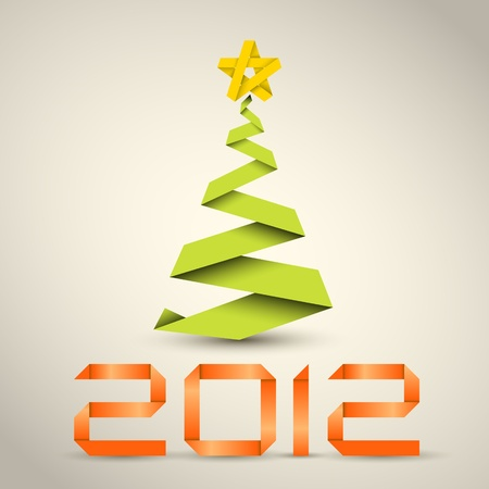Simple christmas tree made from green paper stripe - original new year card Vector