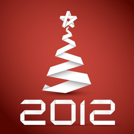 Simple christmas tree made from white paper stripe - original new year card Vector