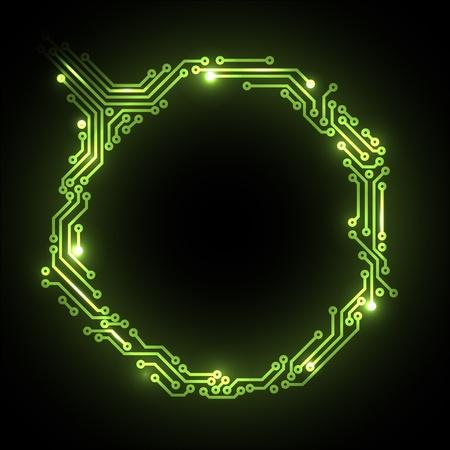 circuitos electronicos: abstracto circuito verde placa de fondo con lugar para el contenido