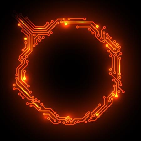 熱抽象的紅色電路板背景的地方為您的內容 向量圖像