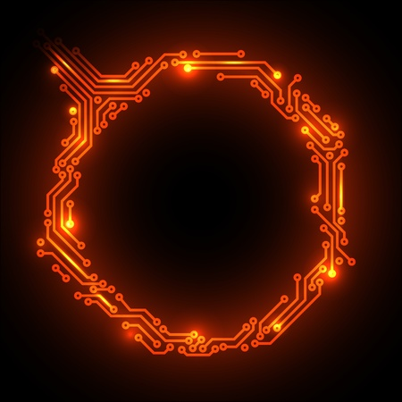 integrated: Hot abstract red circuit board background with place for your content