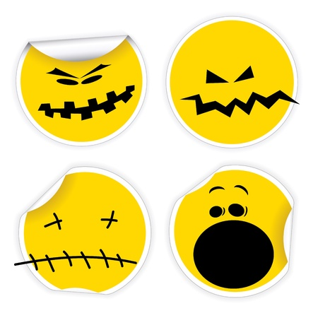 Set of Halloween yellow labels with various smiles