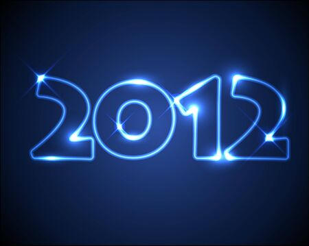 New Year card 2012 made from blue neon lights Vector
