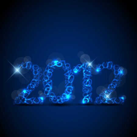 blue New Year card 2012 made from numbers Stock Vector - 10859561