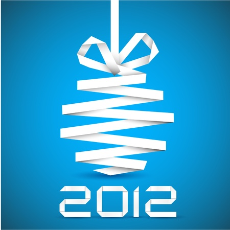 Simple christmas decoration made from white paper stripe - original new year card Vector