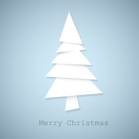 Simple christmas tree made from pieces of white paper - original new year card Vector