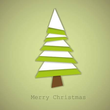Simple christmas tree made from green and white pieces of paper - original new year card Vector