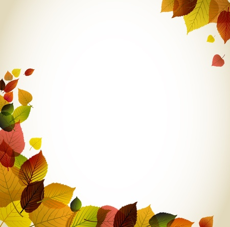 filled: Autumn abstract floral background - corners filled with leafs