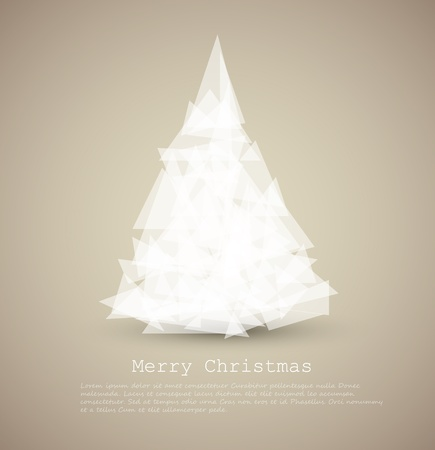 modern card with abstract green christmas tree on a light background Vector