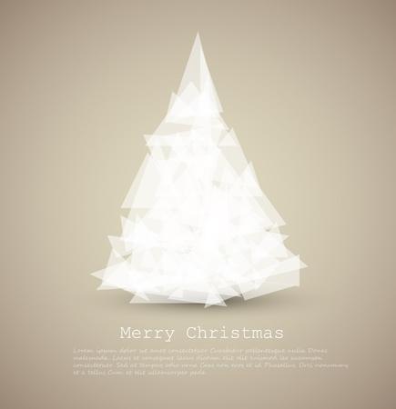 weihnachten zweig: moderne Karte mit abstrakten gr�ner Weihnachtsbaum auf hellem Hintergrund